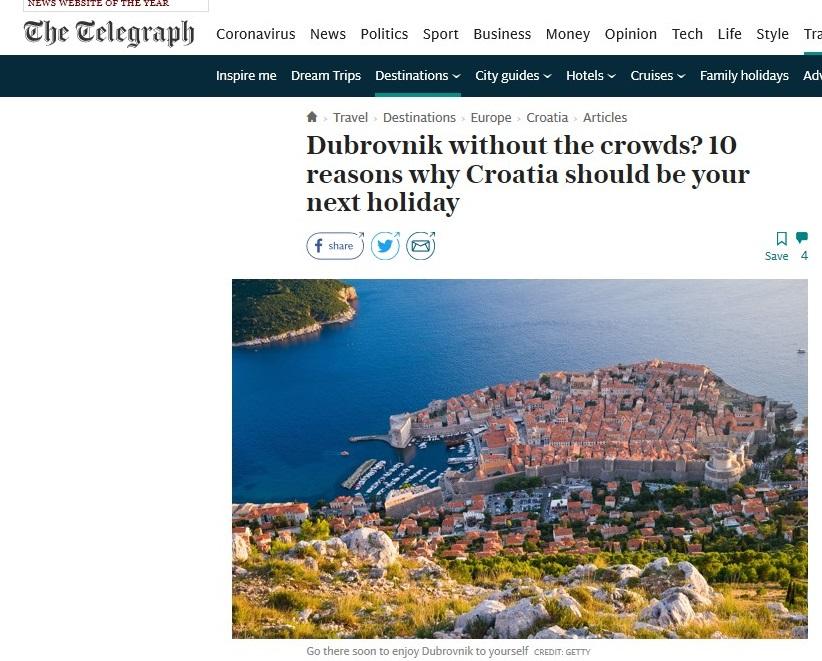BRITANSKI THE TELEGRAPH za 12 milijuna čitatelja 10 razloga za posjet Hrvatskoj